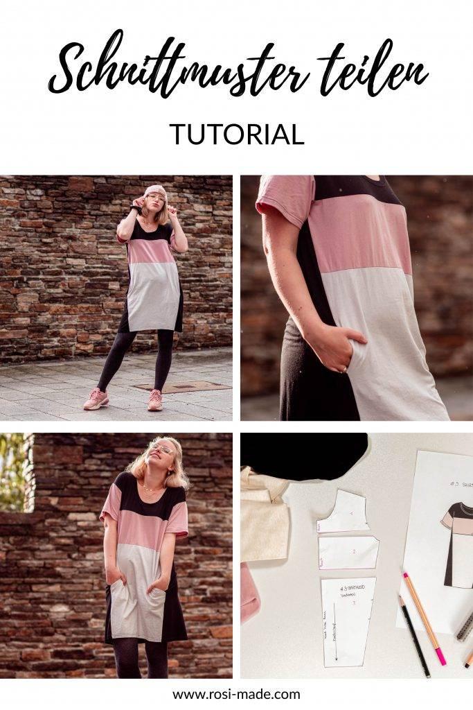 Colourblocking nähen Shirt Teilung